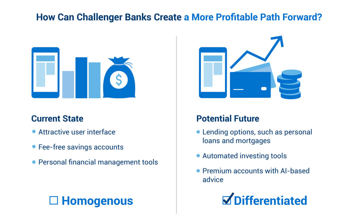 A chart showing the differences between Homogenous vs. Differentiated banks.