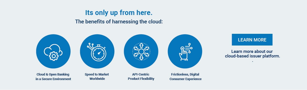 It's only up from here. The benefits of harnessing the cloud: Cloud & Open Banking in a Secure Environment; Speed to Market Worldwide; API-Centric Product Flexibility; Frictionless, Digital Customer Experience