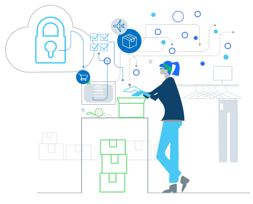 Illustration of a merchant packaging a box and thinking about security and shipping.