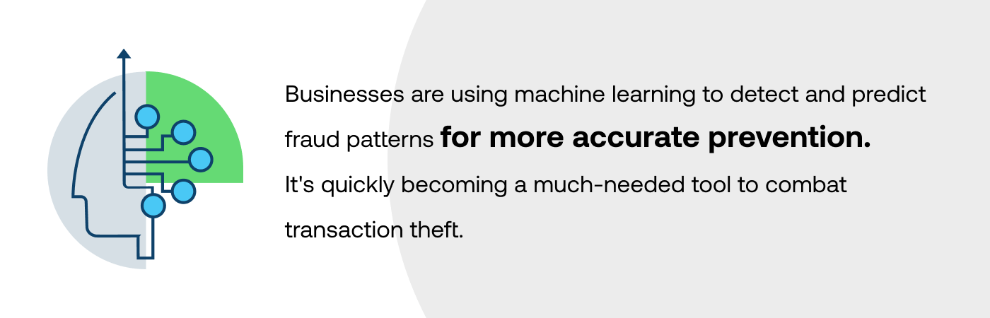 Businesses are using machine learning to detect and predict fraud patterns for more accurate prevention. It's quickly becoming a much-needed tool to combat transaction theft.