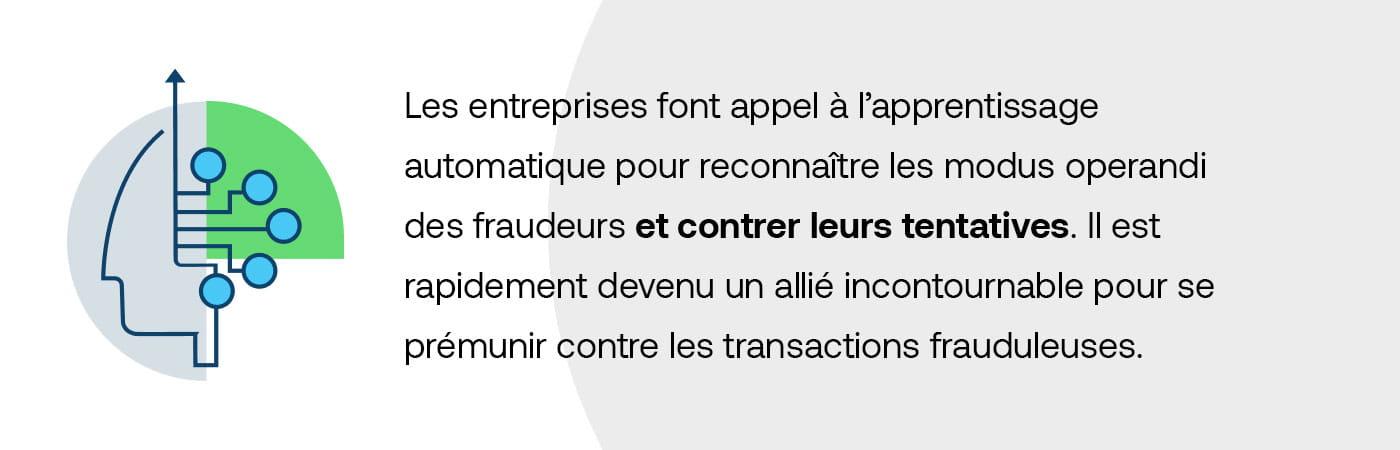 Les entreprises font appel à l'apprentissage automatique pour reconnaître les modus operandi des fraudeurs et contrer leurs tentatives. Il est rapidement devenu un allié incontournable pour se prémunir contre les transactions frauduleuses.