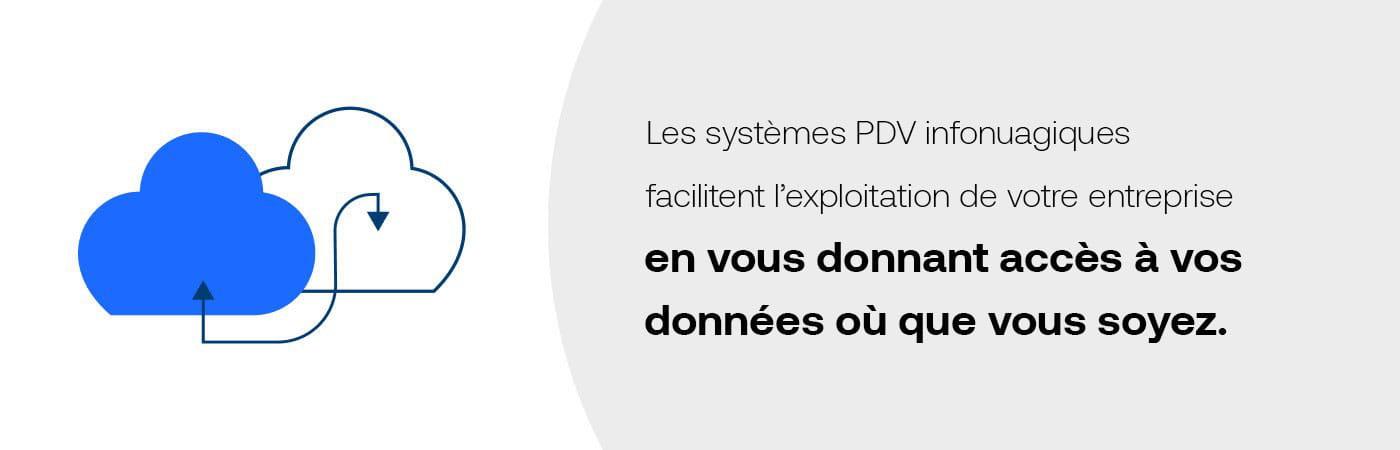 Les systèmes PDV infonuagiques facilitent l'exploitation de votre entrepriseen vous donnant accès à vos données où que vous soyez.