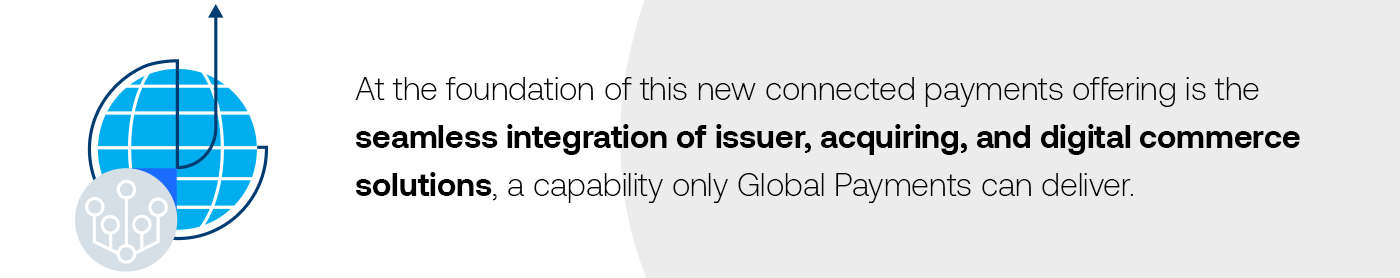 At the foundation of this new offering is the seamless integration of issuer, acquiring, and digital commerce solutions, a capability only Global Payments can deliver.