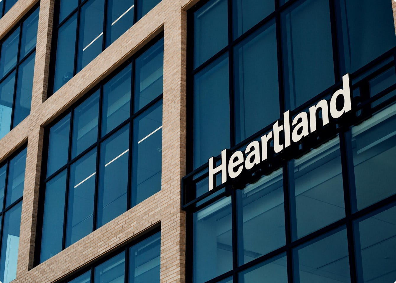 Heartland building with a company sign