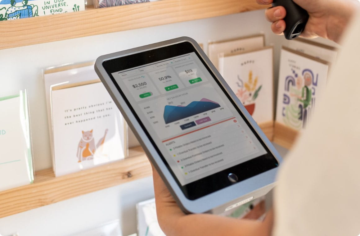 Retail technology solution, point of sale close up