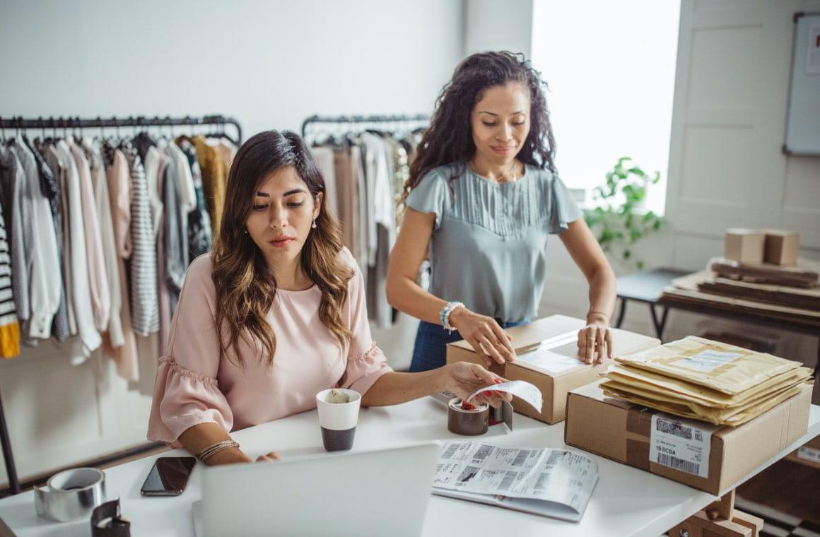Two women working in an office setting