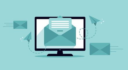 Related content icon with a computer screen with an email feature illustration