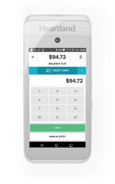 Close up of a mobile point of sale terminal
