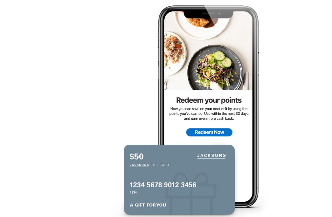 Mobile interface showing to redeem points to customers with a shot of credit card