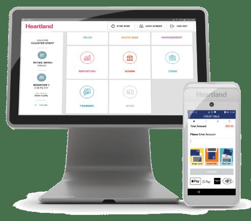 Heartland customer intelligence platform interface on a desktop screen and on a mobile device