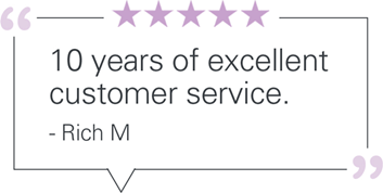 10 years of excellent customer service