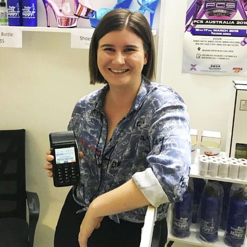 Geri Wilde from Pole Gym uses EFTPOS to take payments from clients