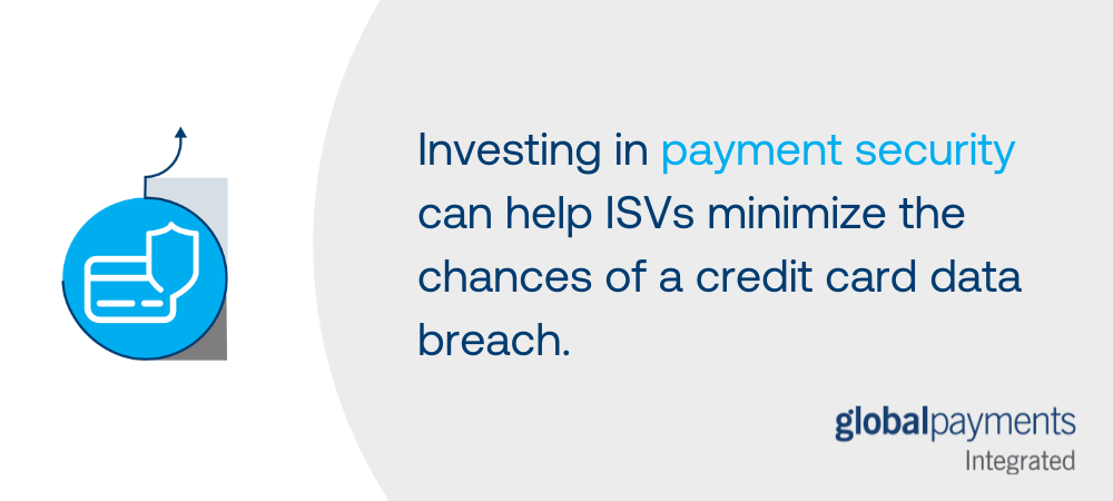 """A graphic that says """"Investing in payment security can help ISVs minimize the chances of a credit card data breach."""" There is an icon of a credit card and shield to communicate the idea of security."""
