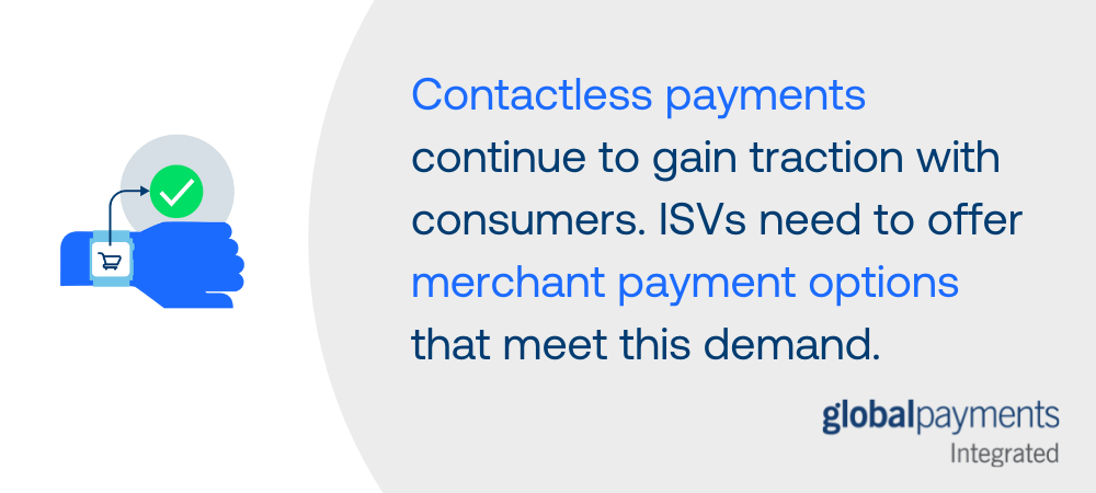 """Infographic summary with an icon of a person's arm wearing a smartwatch. The text beside it says """"Contactless payments continue to gain traction with consumers. ISVs need to offer merchant payment options that meet this demand."""""""