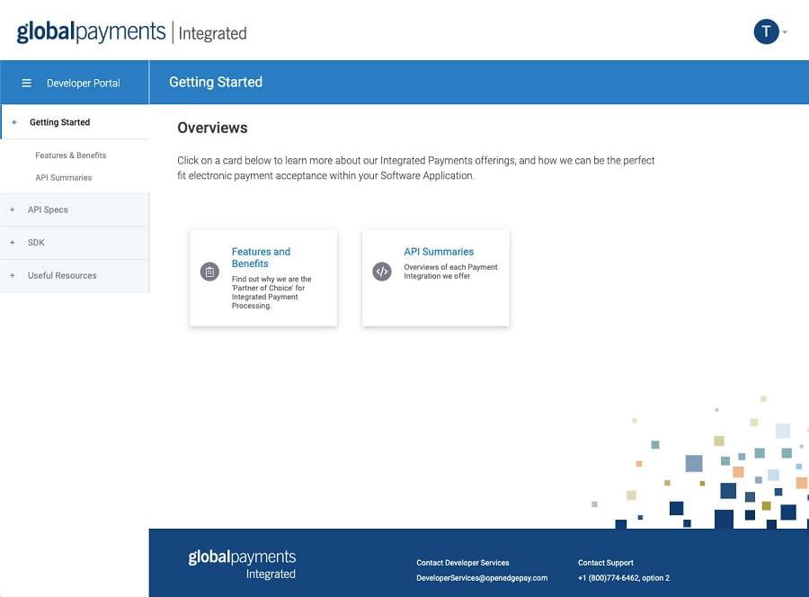 Global Payments Integrated Developer Portal Dashboard