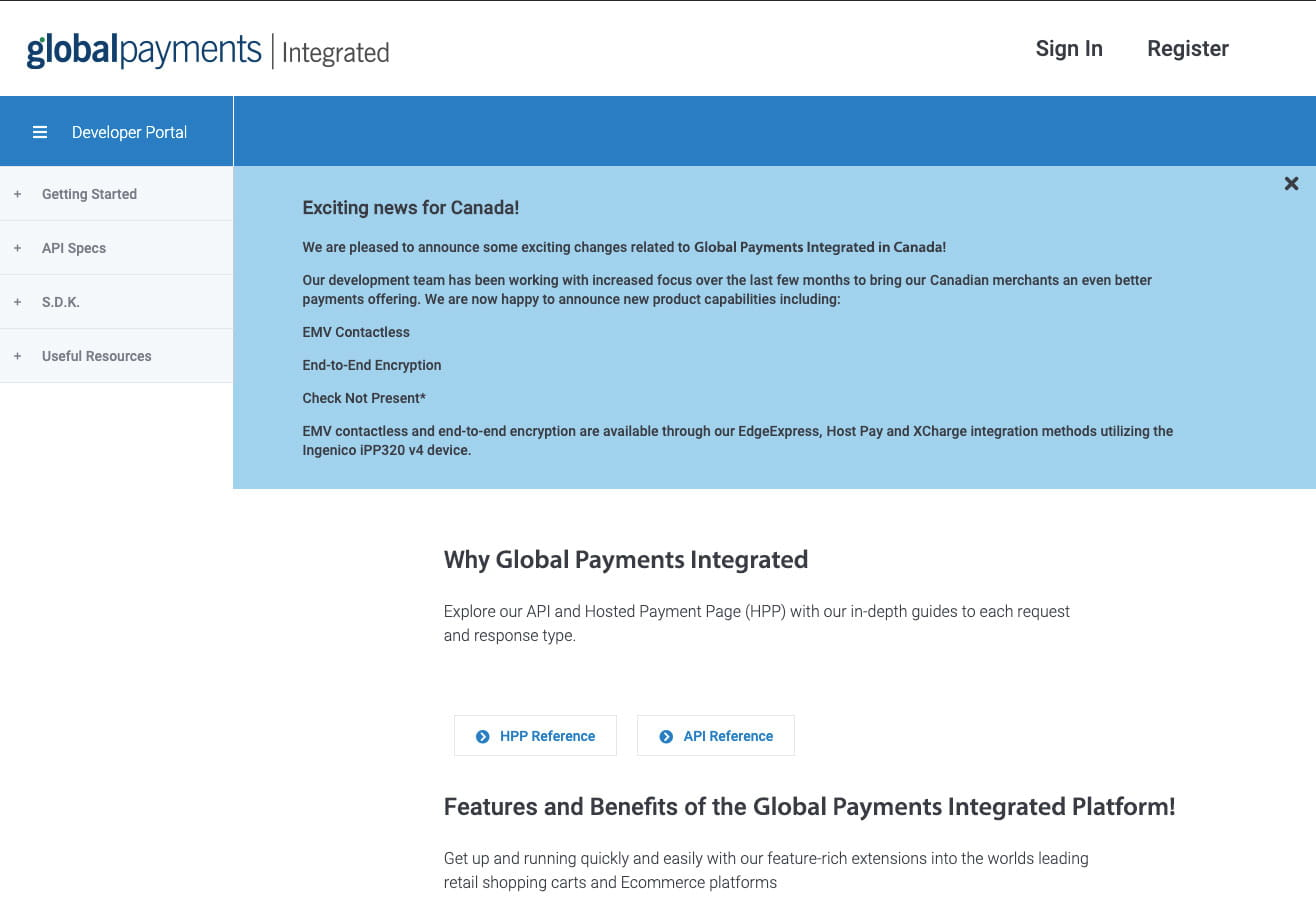 why global payments integrated screenshot from developer portal
