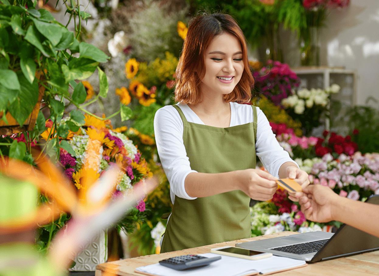 flower shop merchant accepting credit card payment