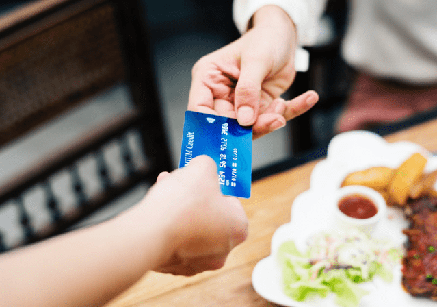 credit card payment at a restaurant